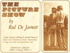 """A """"blast from the past"""" but still meaningful today: This archival flyer, which hangs framed in the Head of School office, promotes an exhibit from not so long ago, featuring original works by Dr. De Jarnett. At one time Dr. De Jarnett considered a professional photography career, and as many in the School are aware he has passed on his love for photography to his daughter Alexandra """"Ali"""" '16."""