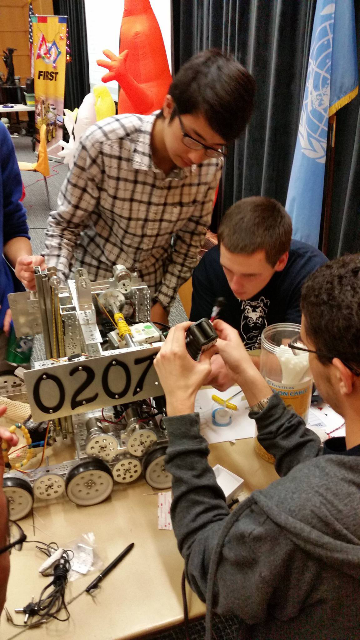 """D-E's Team 0207 prepped their 'bot for the """"Northern Nightmare"""" FIRST Tech Challenge on October 31."""