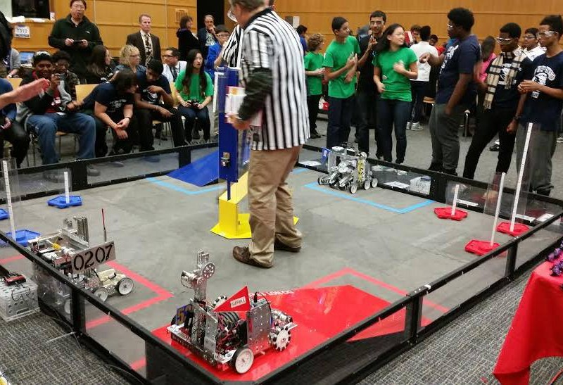 D-E's team was one of 12 high school teams competing in the regional robotics event in Hajjar Auditorium.
