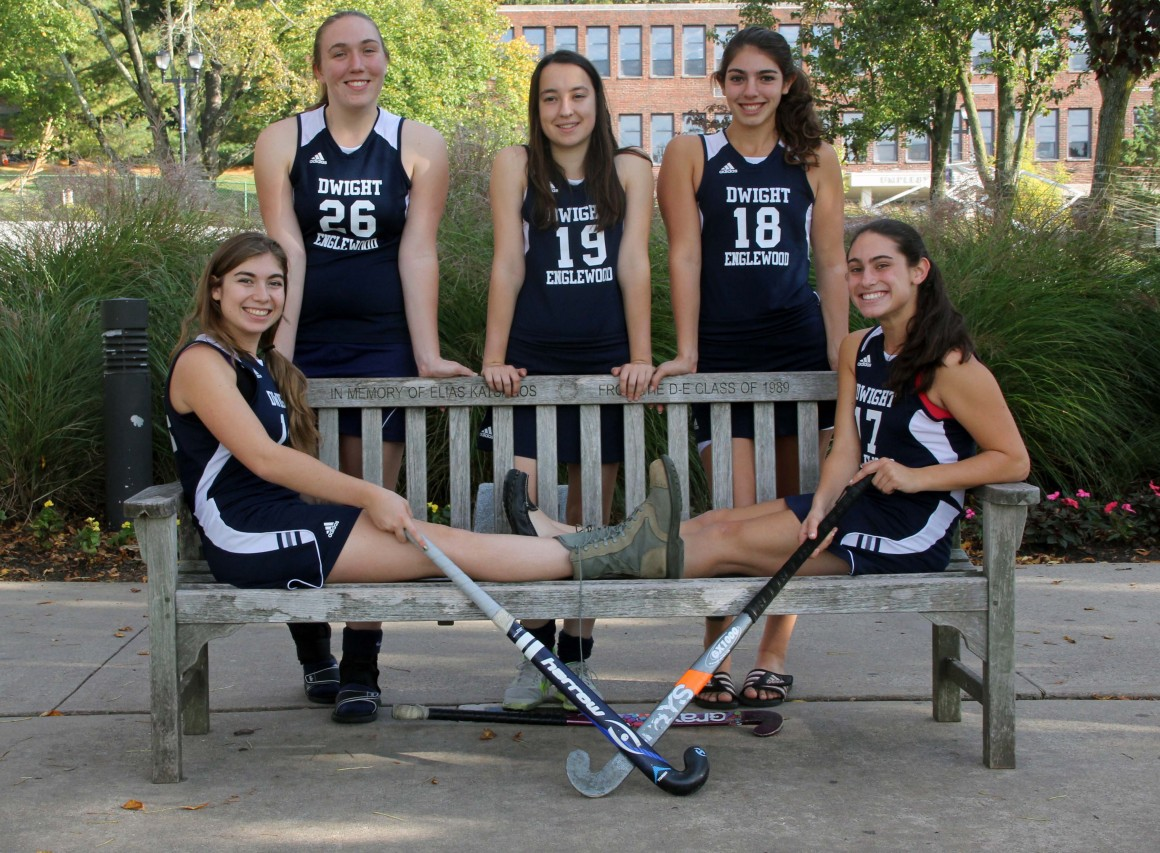 Members of the 2014 field hockey team, including Isabel Guerriero '15 (second from right).