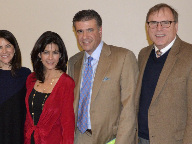 "The Feb. 10 evening Road to Well-Being's ""Happy, Healthy Living"" speakers (from left)  Kimberly Agresta '81, MSW, LCSW; Heidi Skolnik '79, MS, CDN, DACSM; and Dr. Laurence M. Milgrim '81 are pictured with Head of School Dr. Rodney De Jarnett."