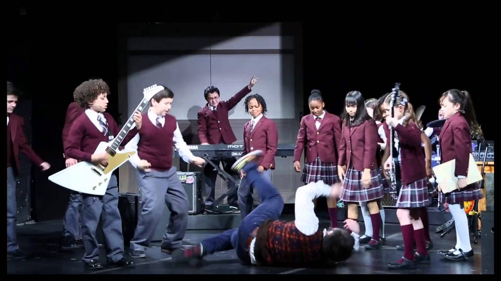 "(Malachi Samedy '22 3rd from right) with the cast of ""School of Rock"" on Broadway"