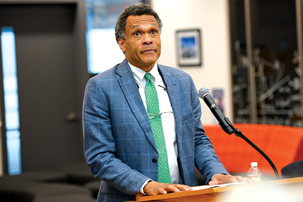 During his remarks after receiving the DAA award, Tracey Maclin '76 spoke to how the attributes of hard work, perseverance, and study habits—skills  that he developed while a student at D-E -- were beneficial to both his educational and professional pursuits.