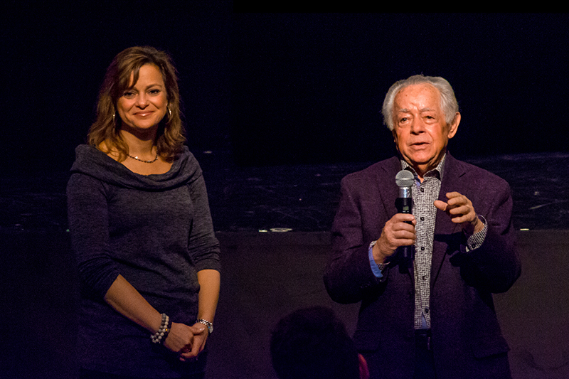 """Holocaust survivor Manek """"Mark"""" Schonwetter and his daughter Ann Arnold, speaking at the Upper School assembly in April in recognition of the Day of Remembrance."""