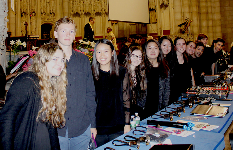 D-E Advanced Handbells ensemble members and Director Ken Kacmar (3rd from end) relaxed before their Riverside Church performance, which was the culmination of months of practicing.