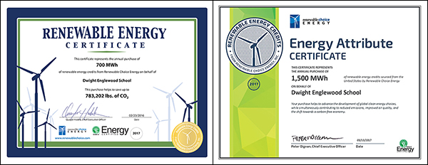 D-E Campus as a whole saved 1,500 MWh (megawatt per hour) and Hajjar STEM Center saved 700 MWh of renewable energy credits from as recognized by Renewable Choice Energy